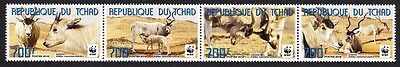 Chad WWF Addax horizontal strip of 4 stamps SALE AT FACE VALUE