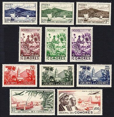 Comoro Is. Definitives 11v COMPLETE issue 1950 SG#1//14 MI#20--33