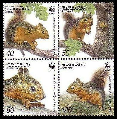 Armenia WWF Persian Squirrel 4 stamps in block 2*2 SG#484/87 SC#632 a-d