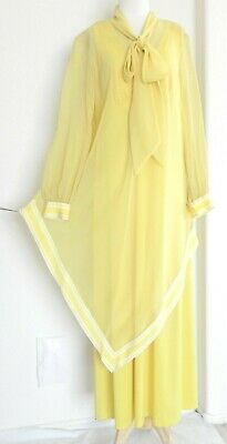 d070385b204 Vtg Lane Bryant 2 Pc Set Tunic top Dress Chiffon Top  Maxi Dress Yellow