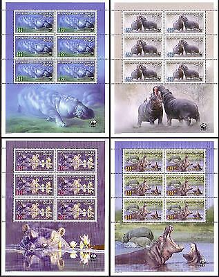 DR Congo WWF Common Hippo 4 Sheetlets of 6 stamps each 6 sets MI#1901-04