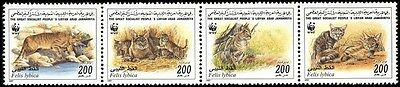 Libya WWF African Wild Cat Strip of 4 stamps SG#2654/57 SC#1594a-d MI#2496-99
