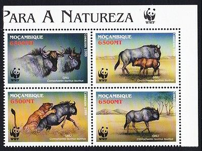 Mozambique WWF Blue Wildebeest block 2*2 with WWF Logo right SG#1542/45 SC#1377