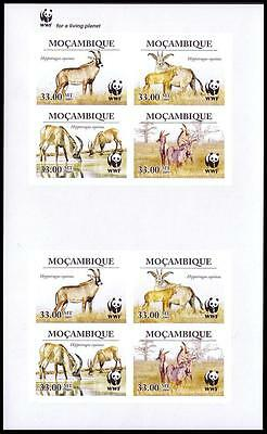 Mozambique WWF Roan Antelope Imperforated Sheetlet of 2 sets / 8 stamps