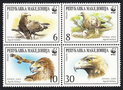 Macedonia WWF Imperial Eagle 4 stamps in block 2*2 SG#319/22 SC#206 a-d