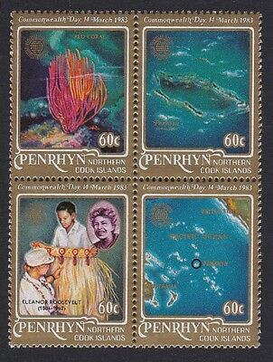 Penrhyn Corals Commonwealth Day Block of 4 D1 SG#278/81 SC#211