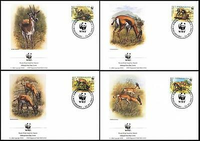 Somalia WWF Speke's and Soemmering's gazelles 4 official FDCs