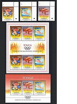 Tonga London Olympic Games 3v Right Corners+Sheetlet + MS SALE BELOW FACE VALUE