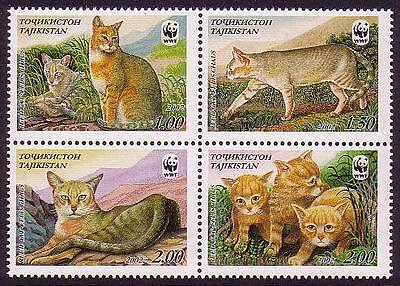 Tajikistan WWF Reed Cat 4 stamps in block 2*2 SG#189/92 SC#185 a-d MI#208-11