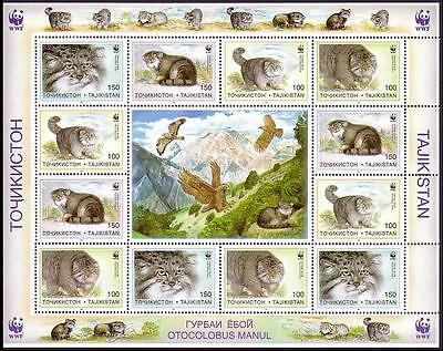 Tajikistan WWF Pallas's Cat Sheetlet of 3 sets / 12 stamps SG#90/93 SC#92-95