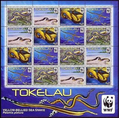 Tokelau WWF Yellow-bellied Sea Snake Sheetlet of 4 sets / 16v MI#408-11 SALE AT