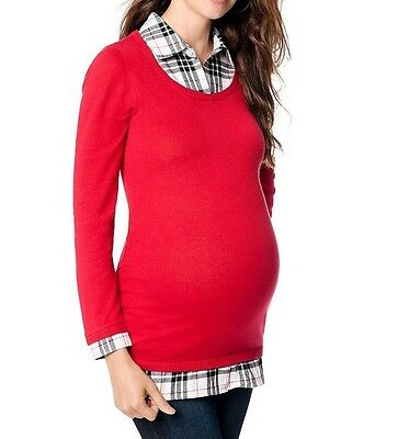 FINAL SALE NEW Motherhood Maternity Sweater w Attached Mock Plaid Shirt S XL