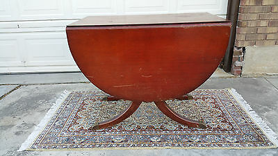 Vintage DUNCAN PHYFE Drop Leaf Mahogany Dining Room Table Brass Feet