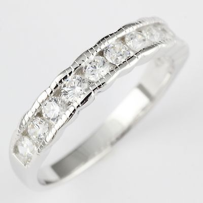 Womens Solid 925 Sterling Silver CZ Channel Set Wedding Band 4mm Ring