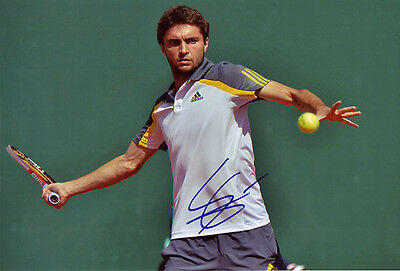 Gilles Simon Hand Signed 8X12 Inches Tennis Photo