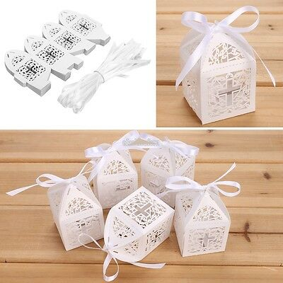 50pcs Laser Cut Hollow Out Ribbons Wedding Favor Candy Party Gift Box EFFU