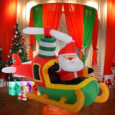 1.8M Giant Inflatable Christmas Decoration Santa Pilot Plane With Light Outdoor