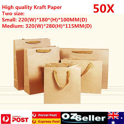 50pcs Kraft Paper Bag Shopping Carry With Handles 2 Colors