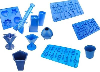 Set of all Candle Moulds we Sell. Votive, Trays, Sphere, Star, Pillar etc. S7621