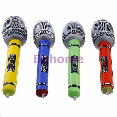 2 Inflatable Blow Up Microphone Music Instrument Toy Party Kids Birthday Gift