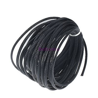 10M 4mm BLACK Expandable Braided DENSE PET Cable Sleeving Audio Sleeve DIY