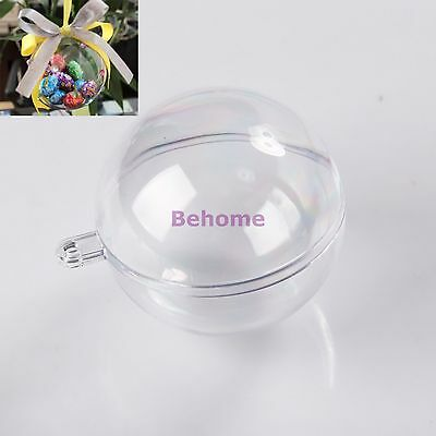 10pcs 5 Ball Christmas Baubles Clear Fillable Xmas Tree Decoration Ornaments