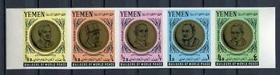 36333) YEMEN 1966 MNH** Nuovi** Pope Paul VI, De Gaulle… strip of 5 imperforated