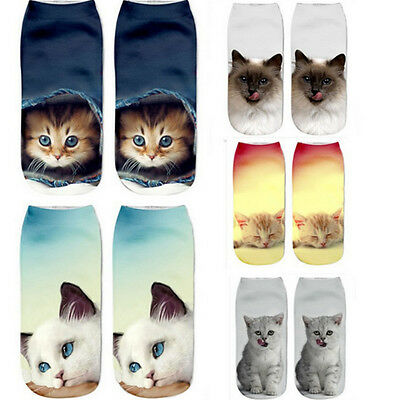 Hot Men Women Kids Low Cut Ankle Sock Cotton  Print Cat Animals Socks One Pair K