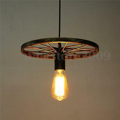Industrial Vintage Iron Wheel Ceiling Light Pendant Lamp Bulb Fixture Chandelier
