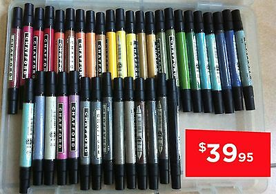 37 Colours! Chafford USA Twin Marker Pen Broad Fine Point Art Sketch Design