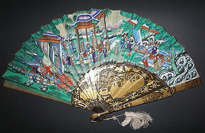 Antique Chinese Gold Lacquer Asymmetrical Hand Painted Court Scene 100 Faces Fan