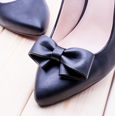 Fashion Synthetic Leather PU Cute Ribbon Bow High Heel Shoe Clips Decoration