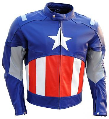 Celebrita Italy  American Captain White Star bike Leather Jacket with CE Armor