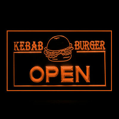 110059 OPEN Kebab Burger Fast Food Cheese Beef Chips Turkish Mac LED Light Sign