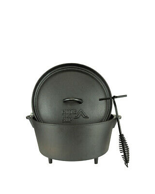 Dutch Oven 4.25L Cast Iron Pot Cooking Camping Bushcraft