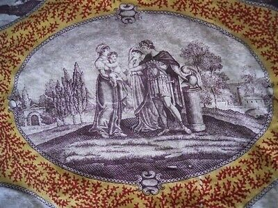 Antique French Fragment  Fabric Toile De Jouy 18Th-Century Medallions Empire