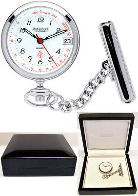 Jean Pierre Nurses Fob Watch Chrome in Wooden Gift Box, Free Engraving (l554c)