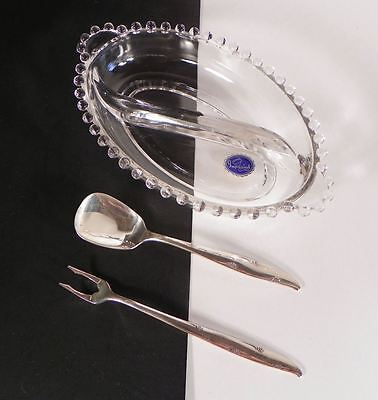 Imperial Candlewick Glass 2-Part Relish Dish Community Silverplate Spoon Fork