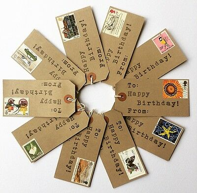 10 X Happy Birthday Gift Tags. Handmade With Vintage Postage Stamps.