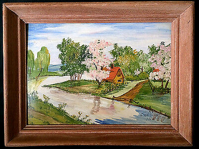 Beautiful Vintage Oil On Canvas Board Painting Vibrant Landscape Stream Cabin