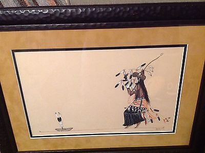 Amazing Native American Painting By Beatien Yazz(Navajo)Great Subject Must See !