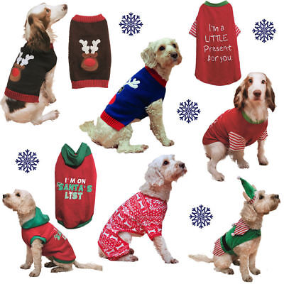 Dog Pet Puppy Christmas Xmas Jumper Knit Clothes Festive Novelty Sweater Hoodie