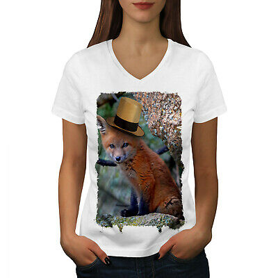Wellcoda Fox Hat Cool Animal Womens V-Neck T-shirt, Flame Graphic Design Tee