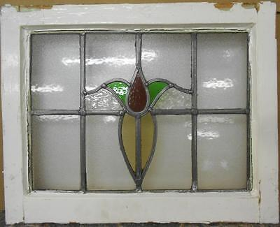 "OLD ENGLISH LEADED STAINED GLASS WINDOW Pretty Floral 21"" x 16.25"""