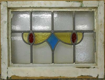 """OLD ENGLISH LEADED STAINED GLASS WINDOW Sweet Abstract Design 20"""" x 15"""""""