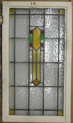 "LARGE OLD ENGLISH LEADED STAINED GLASS WINDOW Nice Geometric 21"" x 36.5"""