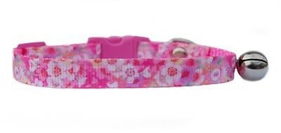 "Gorgeous  Pink  & White ""Flowers "" safety kitten cat collar 3 sizes"