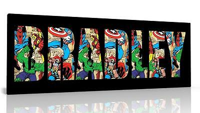 Personalised Canvas Picture Wall Art Avengers Superheroes Kids Free P&p New