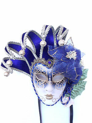 Blue Authentic  Venetian Jolly Carnival Masquerade  Mask
