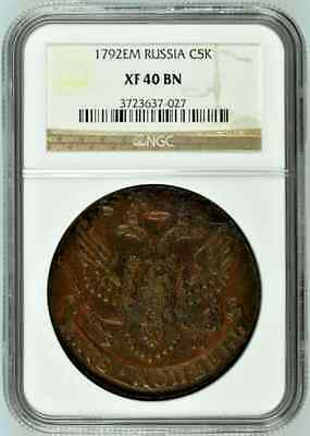 Russia 1792 EM Cooper Coin 5 Kopeks Catherine the Great C# 59.3 NGC XF40